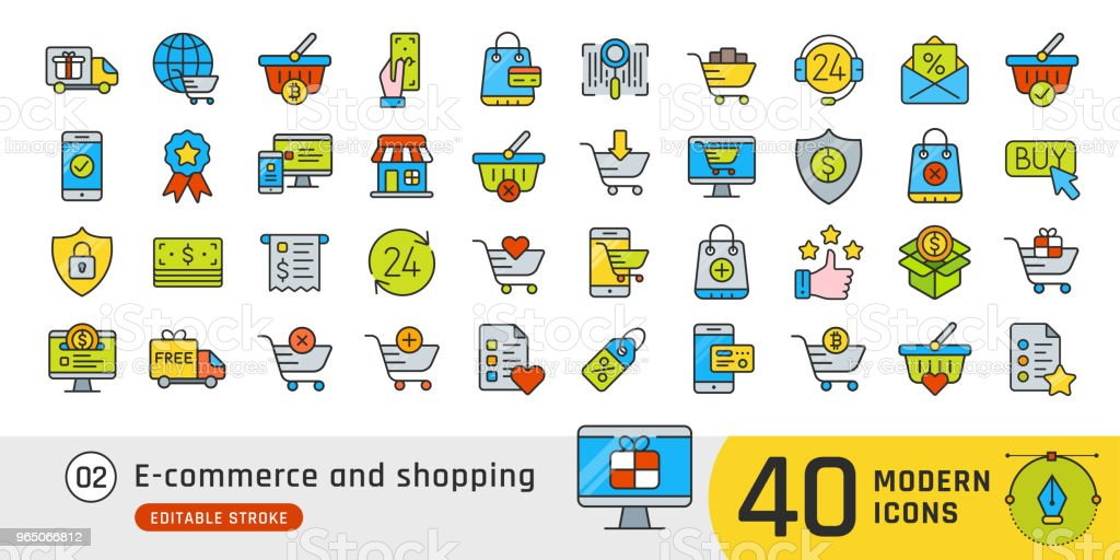 Online shopping and e-commerce line icons set. Pictogram collection suitable for banner, mobile application, website. Editable stroke online shopping and ecommerce line icons set pictogram collection suitable for banner mobile application website editable stroke - stockowe grafiki wektorowe i więcej obrazów bankowość royalty-free