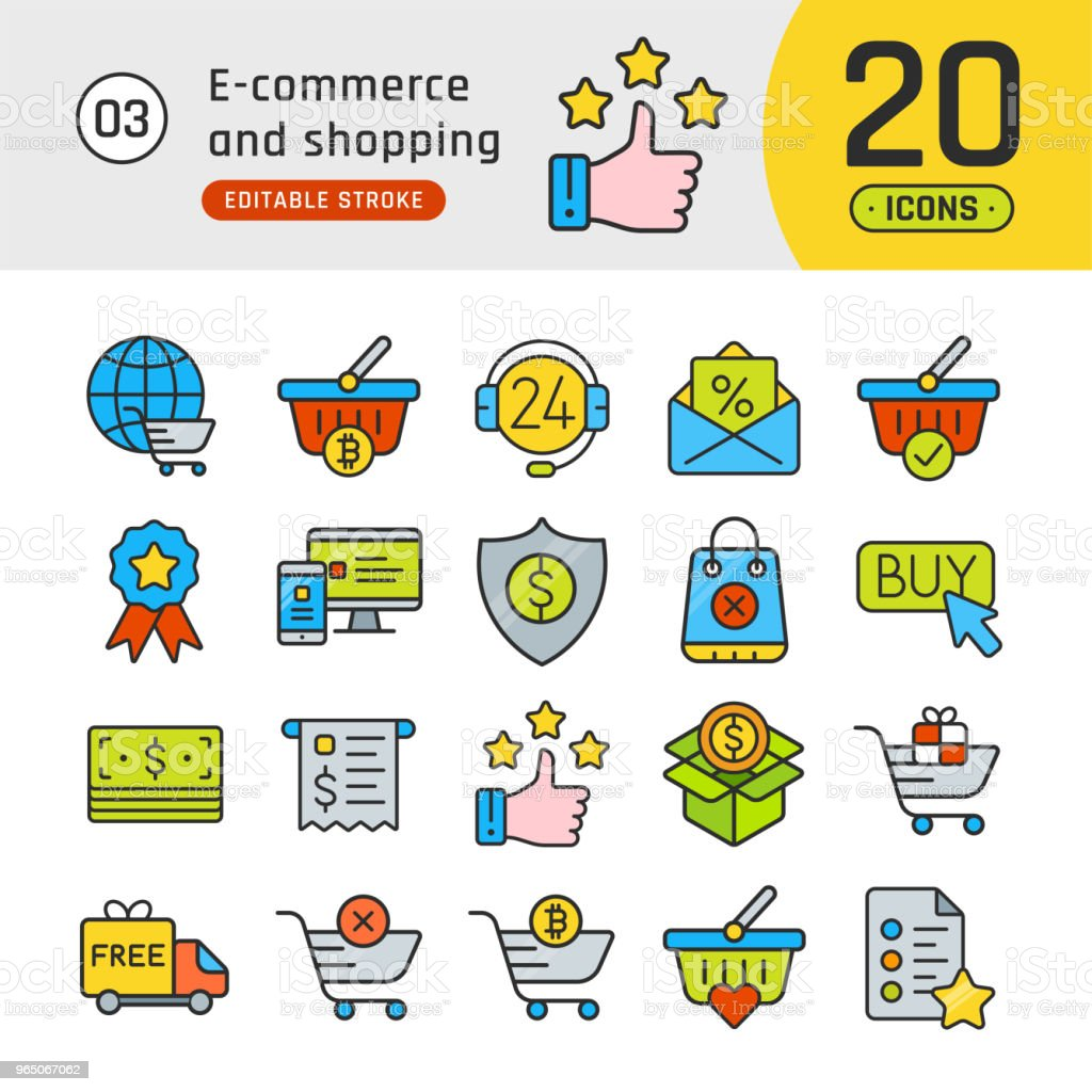 Online shopping and e-commerce line icons set. Pictogram collection suitable for banner, mobile application, website. Editable stroke royalty-free online shopping and ecommerce line icons set pictogram collection suitable for banner mobile application website editable stroke stock illustration - download image now