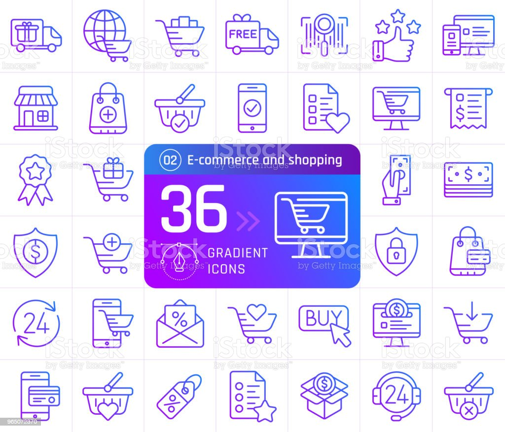 Online shopping and e-commerce line icons set. Pictogram collection suitable for banner, mobile application, website. Editable stroke online shopping and ecommerce line icons set pictogram collection suitable for banner mobile application website editable stroke - stockowe grafiki wektorowe i więcej obrazów biznes royalty-free