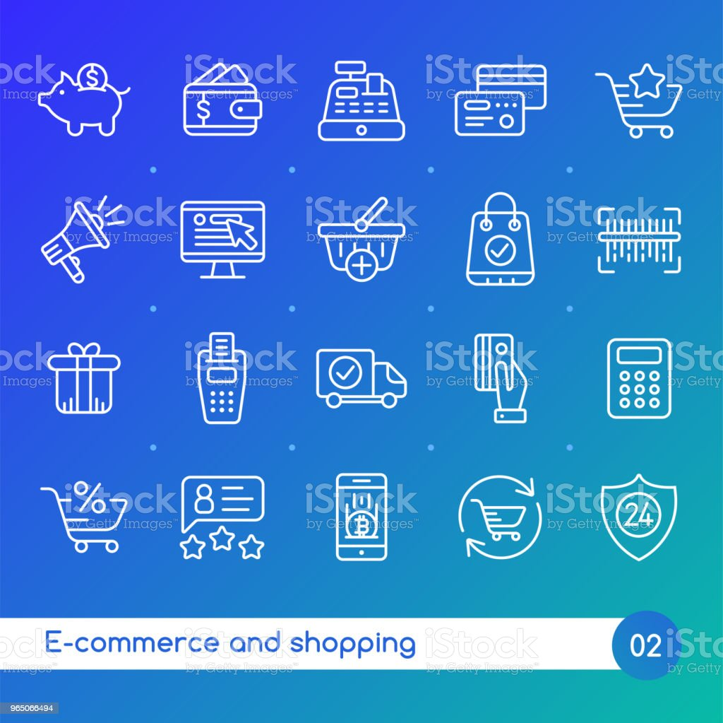 Online shopping and e-commerce line icons set. Suitable for banner, mobile application, website. Editable stroke royalty-free online shopping and ecommerce line icons set suitable for banner mobile application website editable stroke stock vector art & more images of basket