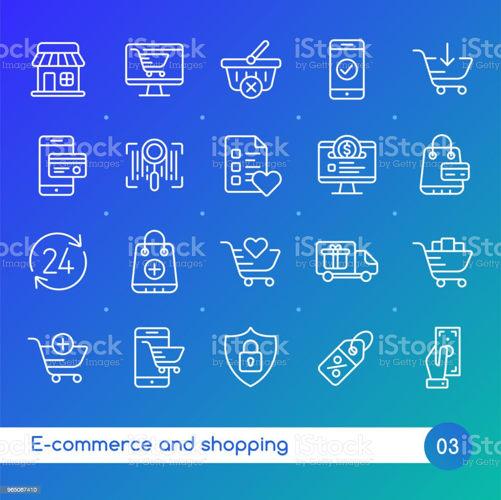 Online shopping and e-commerce line icons set. Suitable for banner, mobile application, website. Editable stroke royalty-free online shopping and ecommerce line icons set suitable for banner mobile application website editable stroke stock illustration - download image now