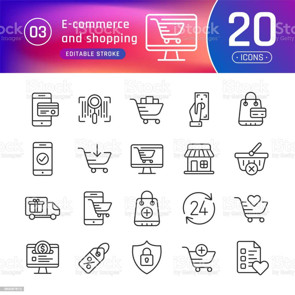 Online shopping and e-commerce line icons set. Suitable for banner, mobile application, website. Editable stroke online shopping and ecommerce line icons set suitable for banner mobile application website editable stroke - stockowe grafiki wektorowe i więcej obrazów biznes royalty-free