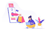 Online shopping and shipping service concept. Hand delivering shopping bags from huge smartphone screen. Young girl ordering with laptop. Online payment. Purchase. Isolated stock vector illustration