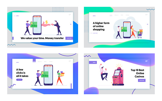 Online Shopping App, E-Commerce Sales, Jackpot Prize Win Landing Page Template Set. Excited Business Man Character Screaming Celebrate Success. People, Cashless Payment. Cartoon Vector Illustration