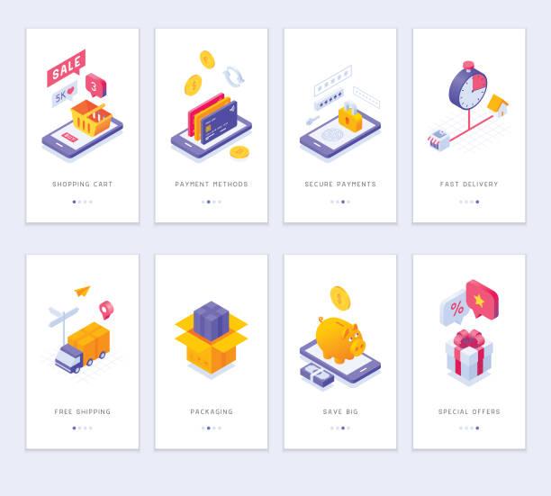 ekrany aplikacji zakupowych online - rzut izometryczny stock illustrations