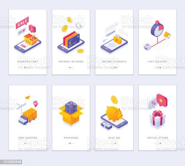 Online Shopping App Screens - Arte vetorial de stock e mais imagens de Aplicação móvel