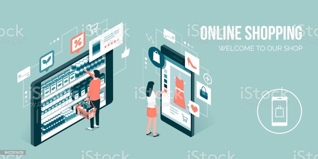 Online shopping app vector art illustration