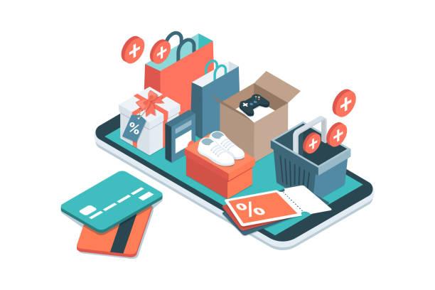 aplikacja do zakupów online - handel detaliczny stock illustrations
