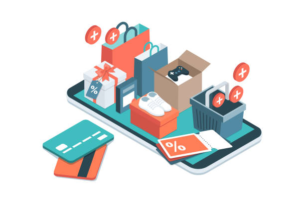 Online shopping app Online shopping app: gifts, shopping items, credit cards and discount coupons on a smartphone online shopping stock illustrations