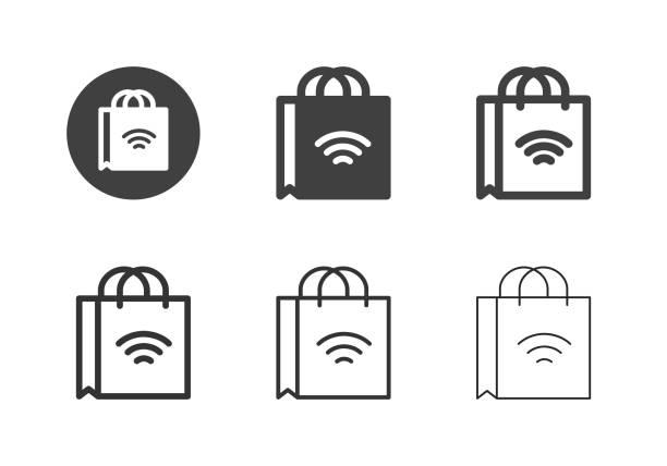 Online Shopping Bag Icons - Multi Series vector art illustration