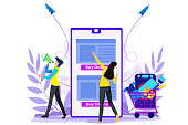 Online shopping banner, mobile app templates,