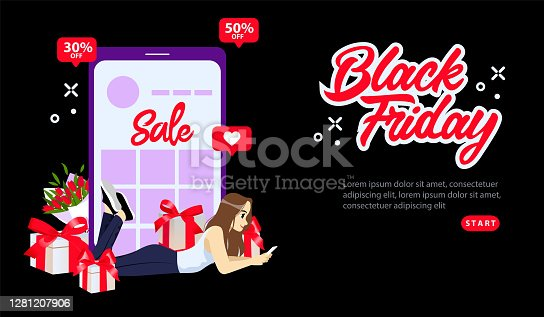 istock Online Shopping, Black Friday Super Sale Concept. Black Friday Special Offers With 30 Or 50% Off The Price. Girl Shopping Online Using Smartphone. Flat Style Vector Illustration On Black Background 1281207906