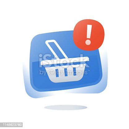 Shop basket, abandoned cart concept, online shopping button, marketing and promotion, limited offer, best deal, loyalty program, sales improvement, vector flat icon