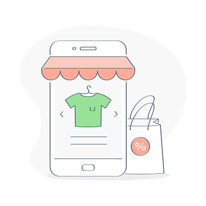 Online Shopping, buy online via Mobile Phone concept