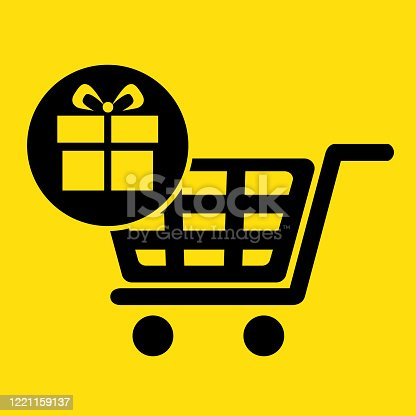 Online shopping cart. Add items. e-commerce website or mobile app icon. Widgets. Tiles. Flat 3D shadow design. yellow background black vector. product brand service label banner board display.