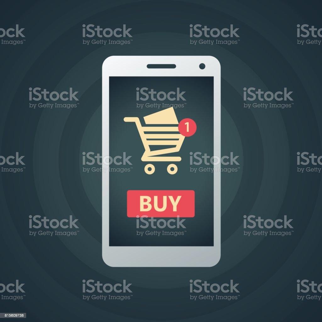 Panier d'achat en ligne avec le téléphone intelligent - Illustration vectorielle