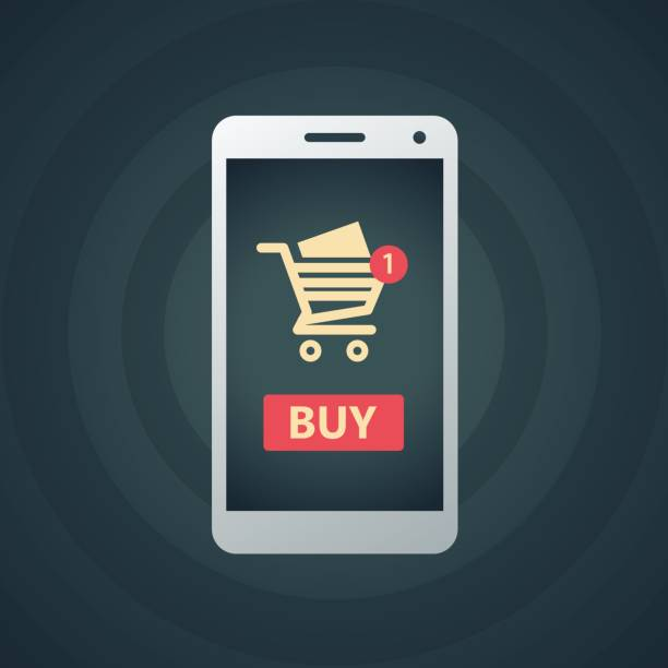 illustrations, cliparts, dessins animés et icônes de panier d'achat en ligne avec le téléphone intelligent - commerce électronique