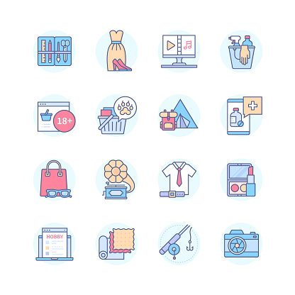 Online shopping categories - line design style icons set