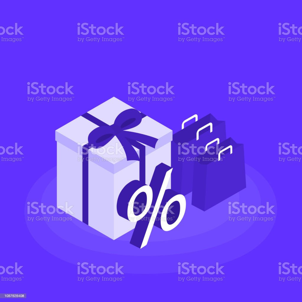 Online shopping concept banner. Gift box and a shopping bag with a sign  percentages. Flat isometric vector illustration - Illustration . 236193ba074aa