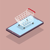 Online shopping concept design, shopping cart in mobile phone. The background is brown.
