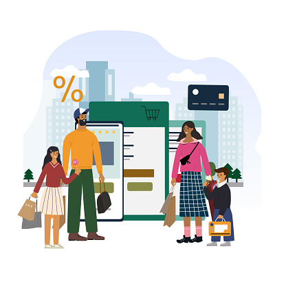 Online shopping concept for app, website banner, landing page template. Happy family standing together after shopping from retail app from virtual store. City scape. Flat cartoon illustration.