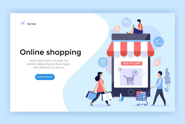 online alışveriş konsept illüstrasyon. - online shopping stock illustrations