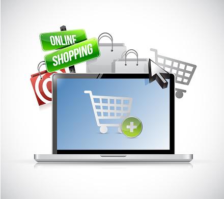 Online shopping concept. laptop illustration