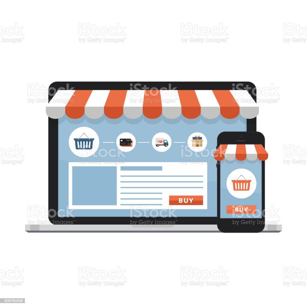 Online-shopping-Konzept. Offenen Notebook mit großem Bildschirm kaufen.  Flache Stil, Vektor-Illustration. – Vektorgrafik