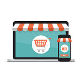 Online shopping concept. Open laptop with screen buy.  Flat style, vector illustration.
