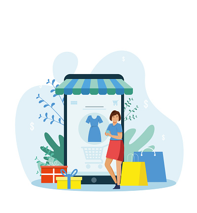 Online shopping concept. Tiny female character standing in front of the store. There is a dress on the big tablet screen. Digital purchasing, buying clothing using internet shop. Cartoon vector illustration