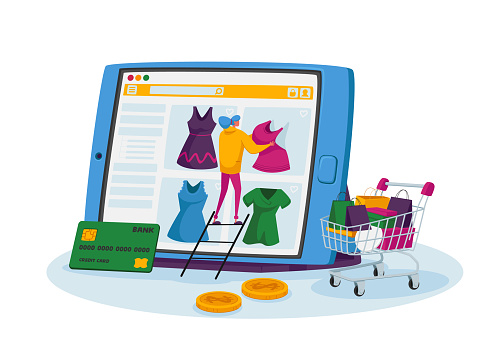 Online Shopping Concept. Tiny Female Customer Character Stand on Ladder Choose Dress on Huge Tablet, Internet Store