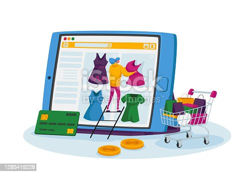 istock Online Shopping Concept. Tiny Female Customer Character Stand on Ladder Choose Dress on Huge Tablet, Internet Store 1283415228