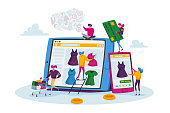 istock Online Shopping Concept. Tiny Female Customer Characters with Credit Card Buying Goods at Huge Digital Gadget Screen 1283415222