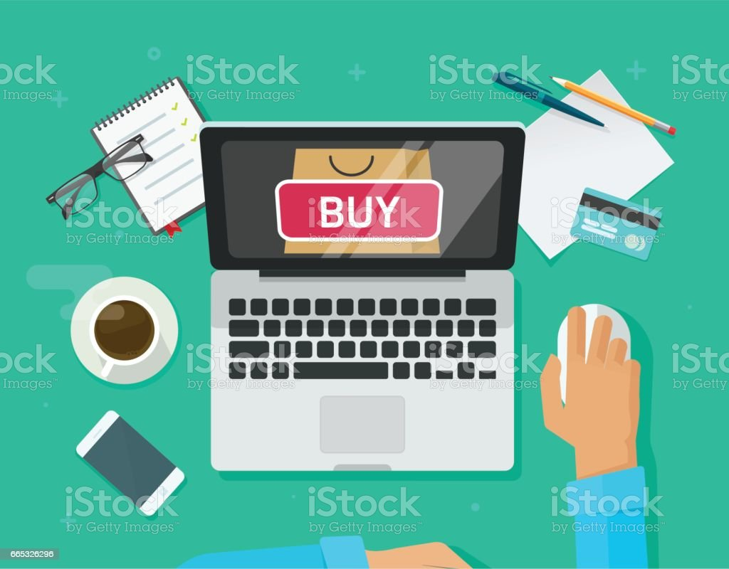Online shopping concept vector, flat style laptop computer and customer person buying from ecommerce internet store vector art illustration