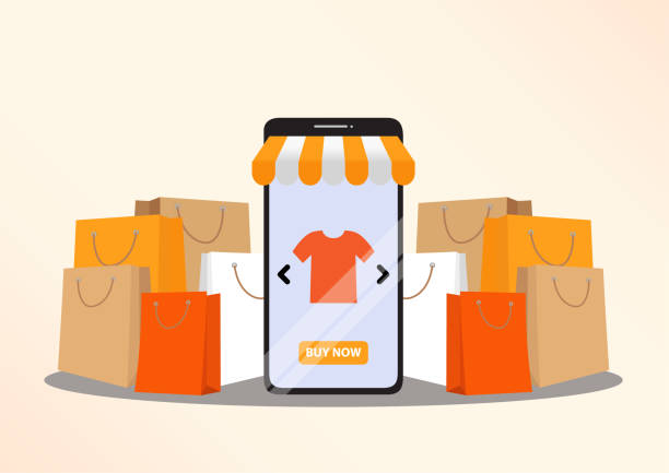 koncepcja zakupów online - handel detaliczny stock illustrations