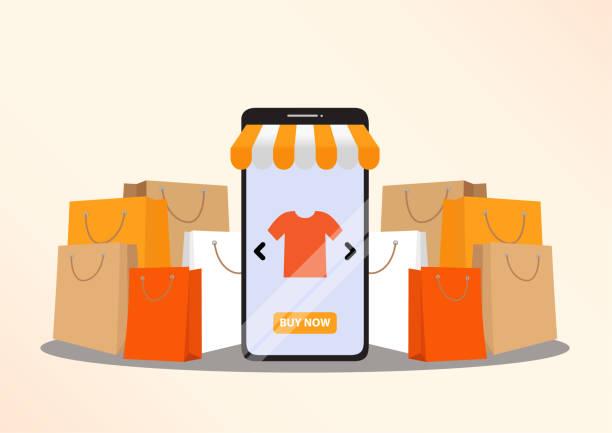 ilustraciones, imágenes clip art, dibujos animados e iconos de stock de concepto de compras en línea - online shopping