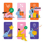 Mobile shopping screens. Various people buying, paying, rating and delivering. Fully editable vectors on layers.