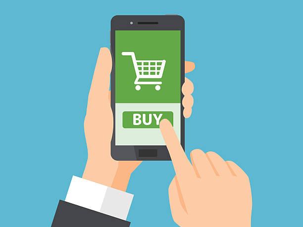 Online shopping concept vektör sanat illüstrasyonu