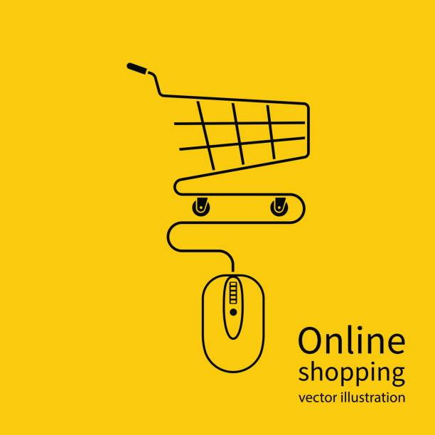 Online shopping concept. Online shopping concept. Vector illustration minimal design. Computer mouse connect to the shopping basket. Modern technology e-shopping. Purchases in internet. E-commerce. online shopping stock illustrations