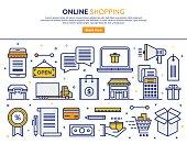 Line vector illustration of online commerce services. Banner/Header Icons.