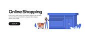 Online Shopping Concept Vector Illustration for Website Banner, Advertisement and Marketing Material, Online Advertising, Business Presentation etc.