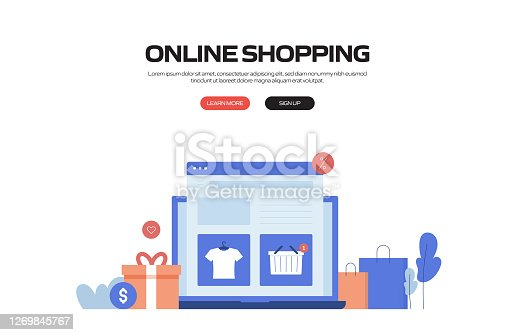 istock Online Shopping Concept Vector Illustration for Website Banner, Advertisement and Marketing Material, Online Advertising, Business Presentation etc. 1269845767