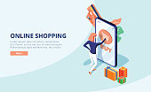 Online shopping concept with character. Sale and consumerism. Young woman shop online using smartphone. Can use for web banner, infographics, hero images. Flat isometric vector illustration.