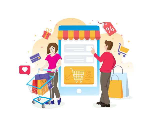 ilustrações de stock, clip art, desenhos animados e ícones de online shopping concept with characters - online shopping