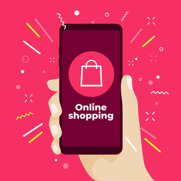 online shopping concept with hand holding smartphone and online shop icons. - hand holding phone stock illustrations