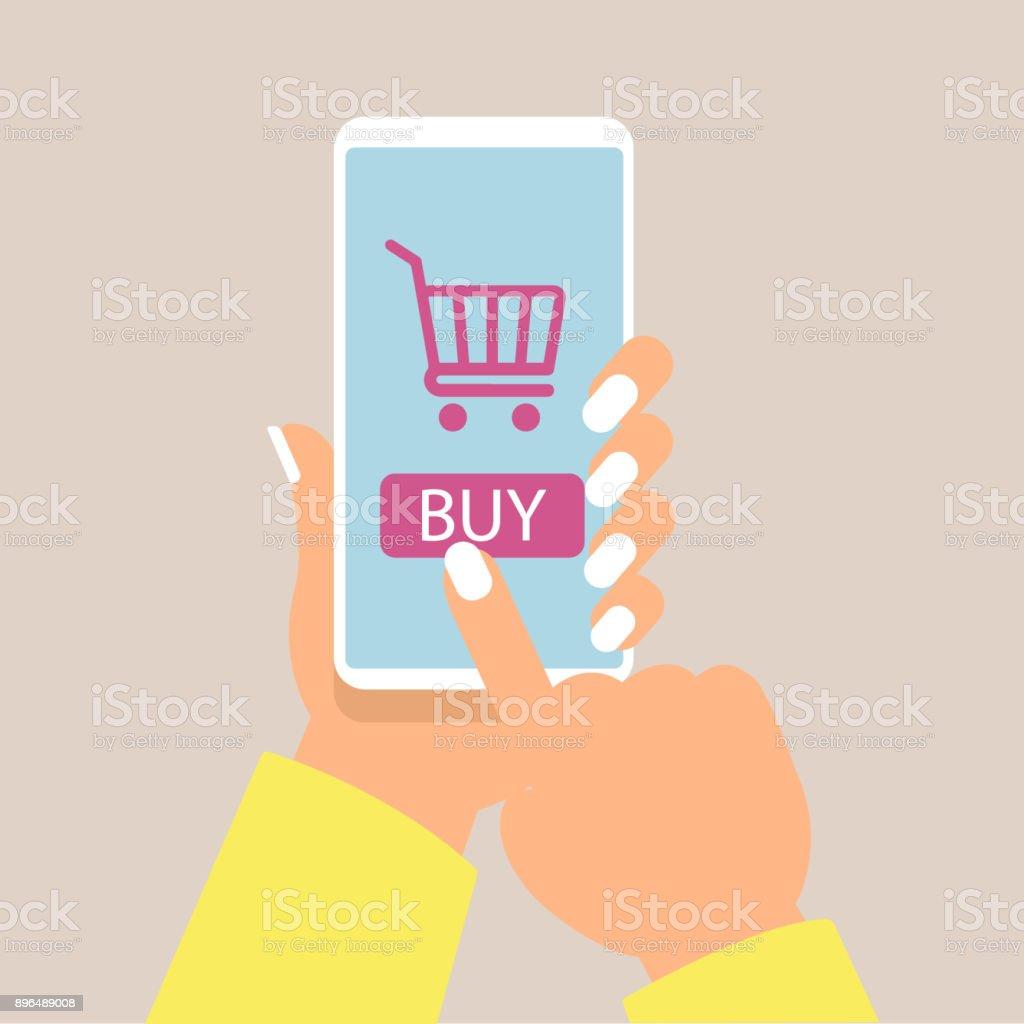 2559180f84adab Online-shopping Konzept mit Frauen Hand Smartphone und Online-Shop Symbole  Vektor Lizenzfreies onlineshopping