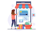 Online Shopping Concept. Happy Woman Shopping by her Phone. Vector Illustration