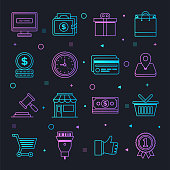 Online shopping convenience constellation line gradient style symbols. Line design vector icons set for infographics, mobile and web designs.