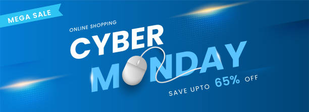 Online Shopping Cyber Monday Text with Realistic Mouse and 65% Discount Offer on Blue Background for Mega Sale. vector art illustration