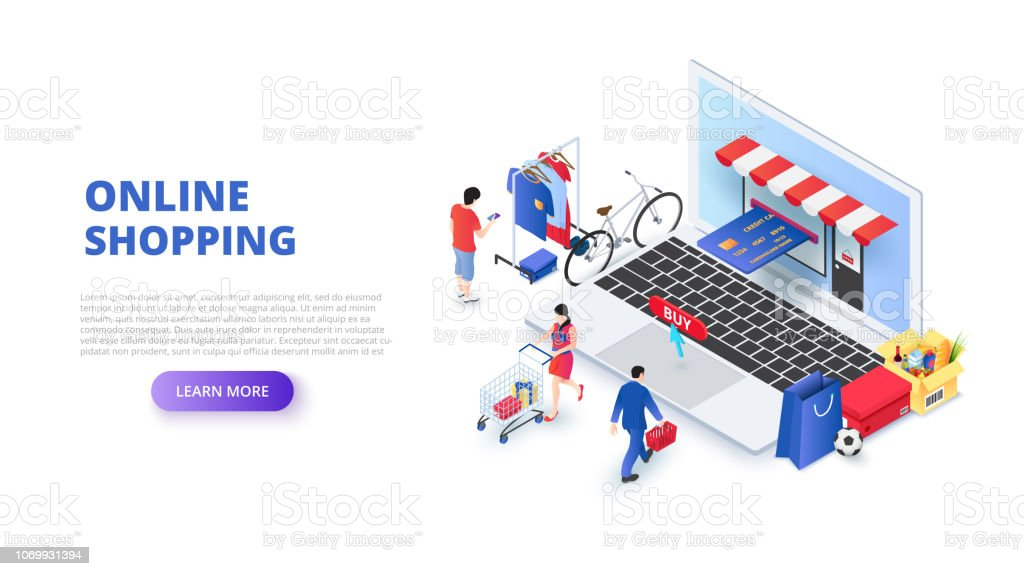 Online shopping design concept with people and laptop. Isometric vector illustration. Landing page template for web. vector art illustration